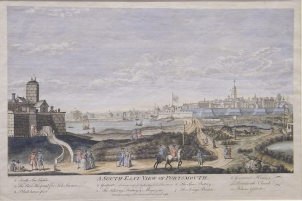 This scene drawn in 1765 shows Southsea Castle (on the left) and the town of Portsmouth with its surrounding fortifications (background on the right). When the Castle was captured in 1642 both sets of fortifications looked slightly different, but still this gives you a good impression of what the area looked like.