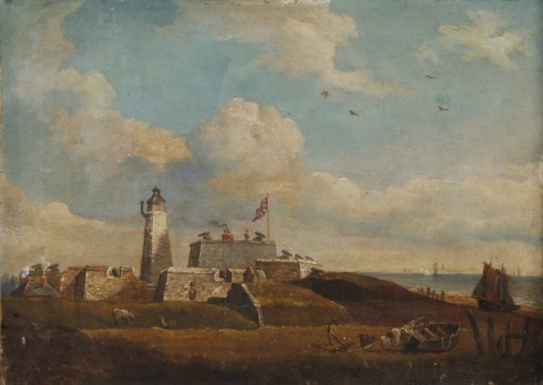 This painting shows the Castle in about 1850. You can see the lighthouse on the left. On the walls and the keep (the square, higher building to the right of the lighthouse) there are cannons mounted on wooden carriages that could turn from side to side so they could fire over a wider area.