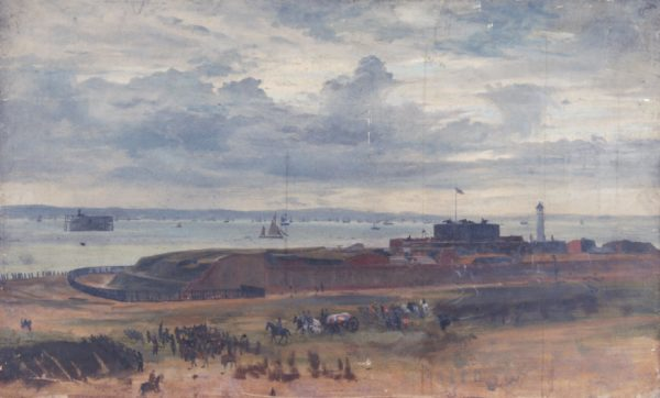 This painting by an unknown artist shows the Castle and the East Auxiliary battery next to it. You can see the brick wall that ran along the back of the site in case an enemy attacked from the rear.