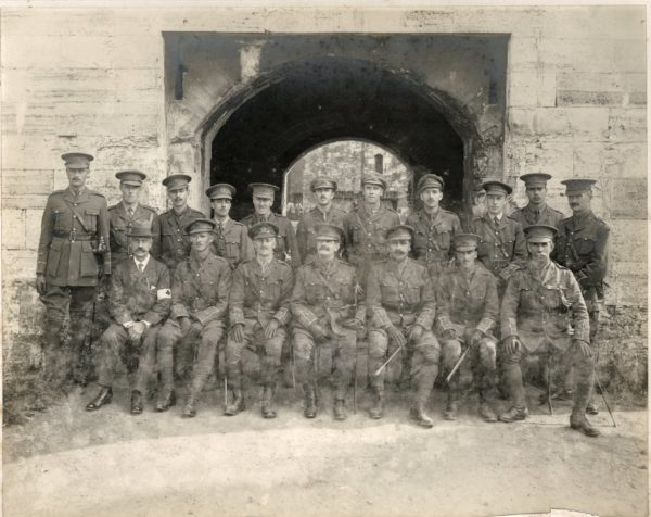 Army officers outside the Castle entrance during the First World War. They manned the defences in case enemy ships tried to attack Portsmouth's naval base.