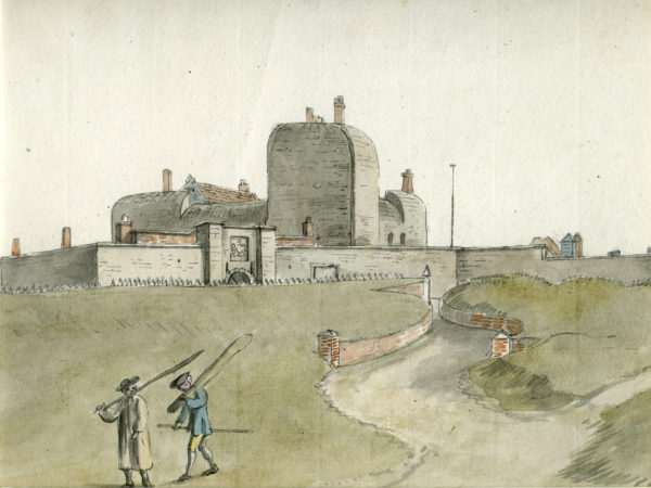 A view of Southsea Castle in around 1760. This shows the earth bank around it (the glacis) that protected the walls from enemy cannon fire.