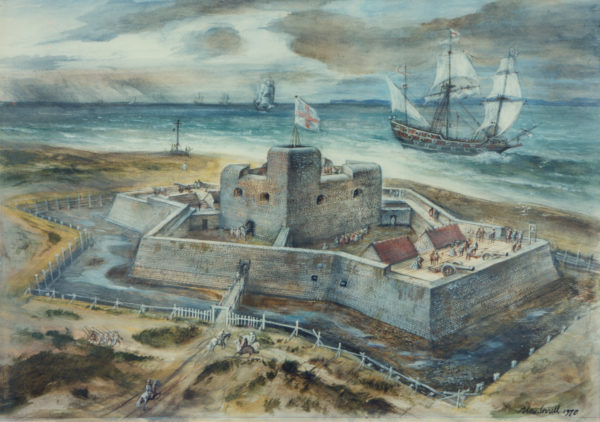 Southsea Castle as it looked when built in 1544 (painting by Alan Sorrell). You can see the angled bastions coming to a point at the left and right of the image, with a pair of cannons sited where the wall changes direction. These guns were designed to fire along the front of the adjacent wall.