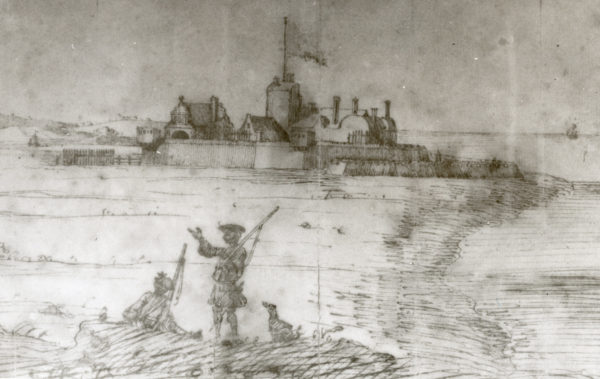 A view of Southsea Castle in the 1700s. It would have looked similar at the time of the Civil War, a little earlier.